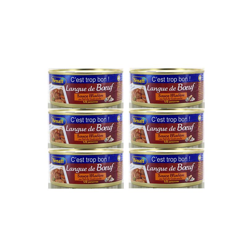 LOT DE 6 - Langue de bœuf sauce Madère Hénaff 275g x6