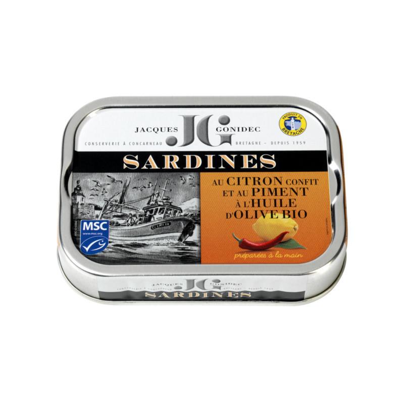 Sardines au citron confit et au piment, à l'huile d'olive vierge extra BIO - 115g