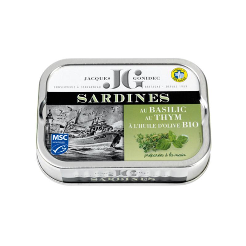 Sardines au basilic et au thym BIO, à l'huile d'olive vierge extra BIO - 115g