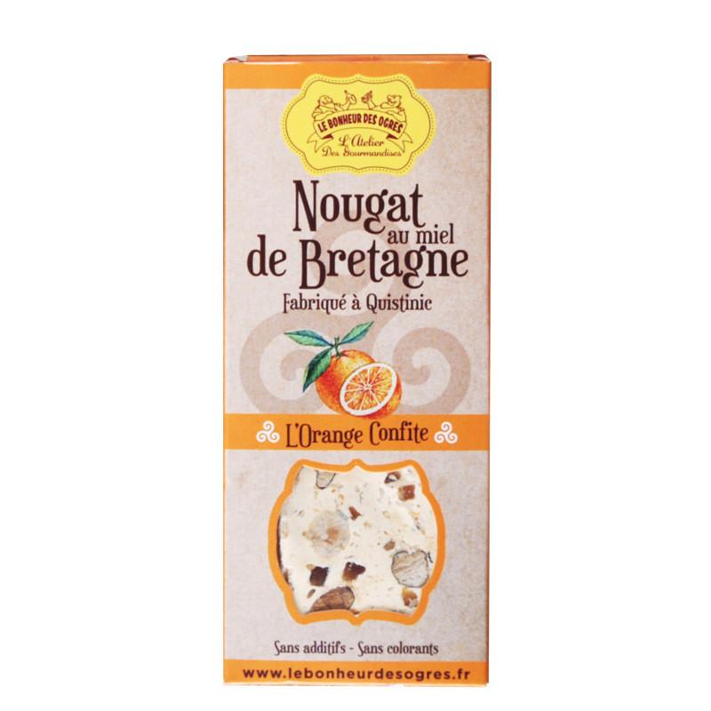 Nougat au miel de Bretagne à l'orange confite - 80g
