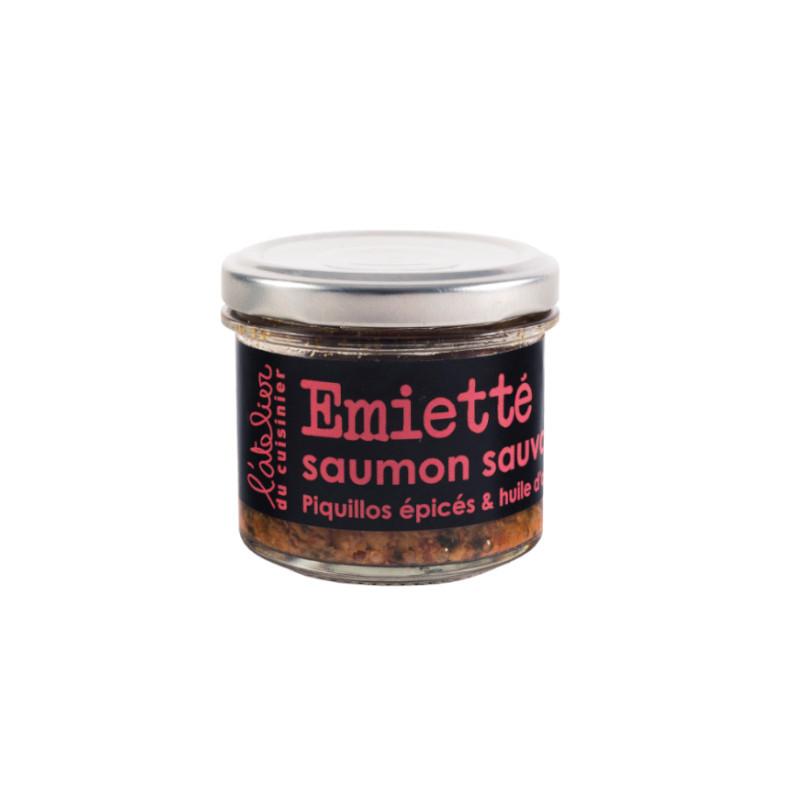 Emietté de saumon sauvage, piquillos épicés & huile d'olive - 90g