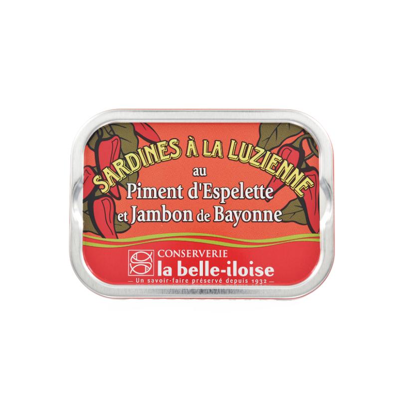 Sardines à la Luzienne au Piment d'Espelette et jambon de Bayonne 115g