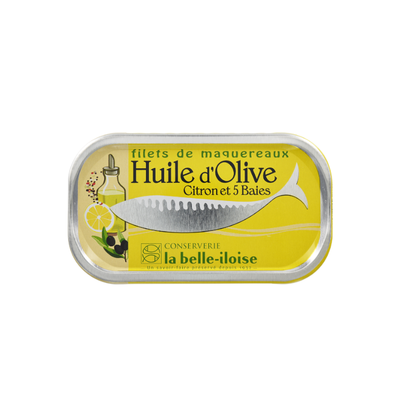 Filets de maquereaux - Huile d'Olive Citron et 5 baies 118 g