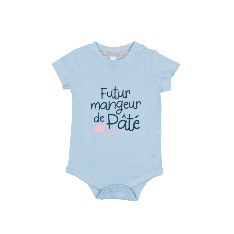Body bébé Futur mangeur de Pâté Hénaff, 100% coton ciel