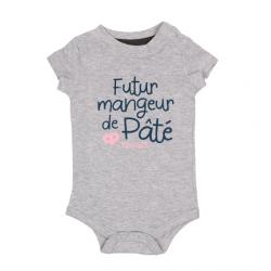 Body bébé Futur mangeur de Pâté Hénaff, 100% coton gris