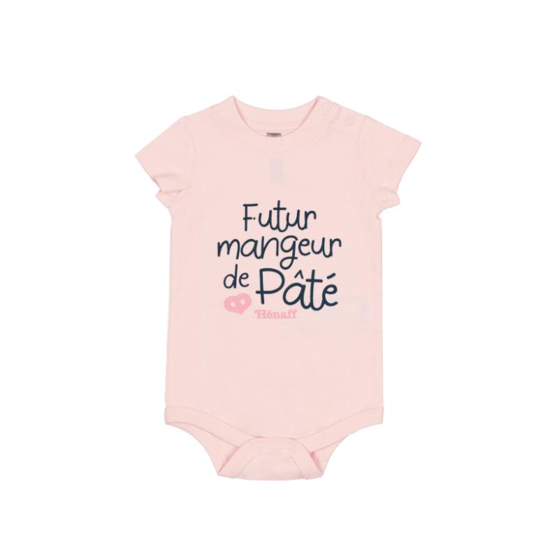 Body bébé Futur mangeur de Pâté Hénaff, 100% coton rose