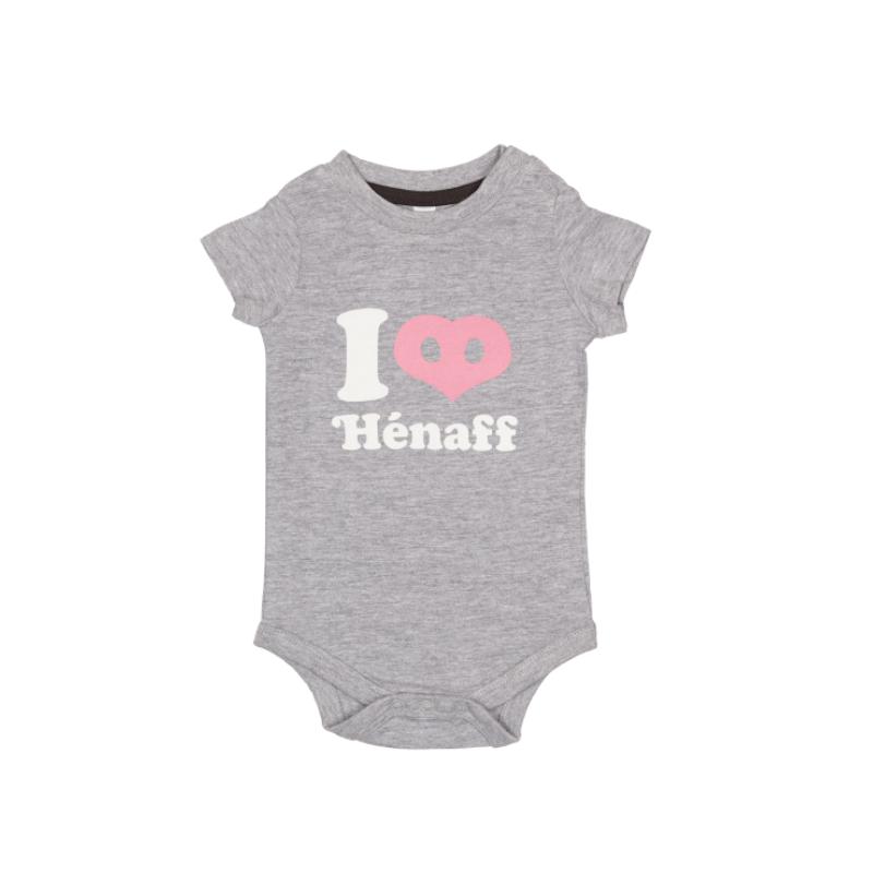 Body bébé I Love Hénaff, 100% coton gris chiné