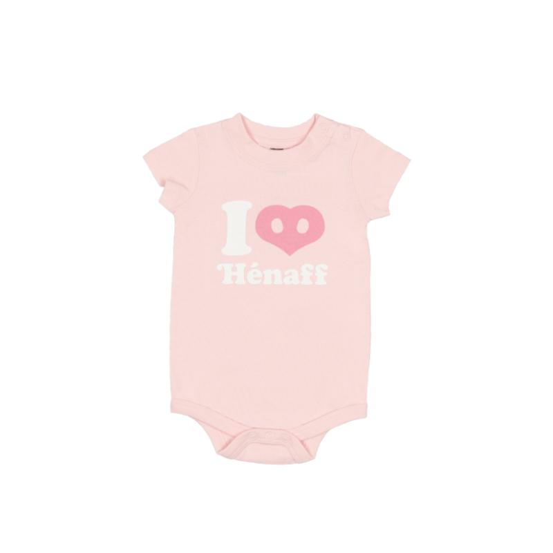 Body bébé I Love Hénaff, 100% coton rose