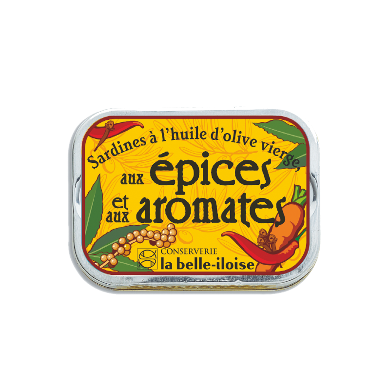 Sardines à l'huile d'olive vierge aux épices et aux aromates 115g